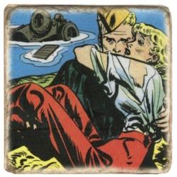Plaque de marbre collection Steve Canyon, Milton Caniff Dans les Bras (10x10cm)
