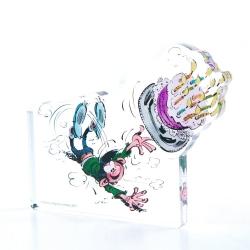 Figurine en acrylique Art To Print Gaston Lagaffe fait tomber le gâteau (10cm)