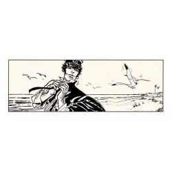Silkscreen printing Corto Maltese, Corto on the beach (50x20cm)