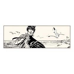 Serigrafía Corto Maltés, Corto en la playa (100x40cm)