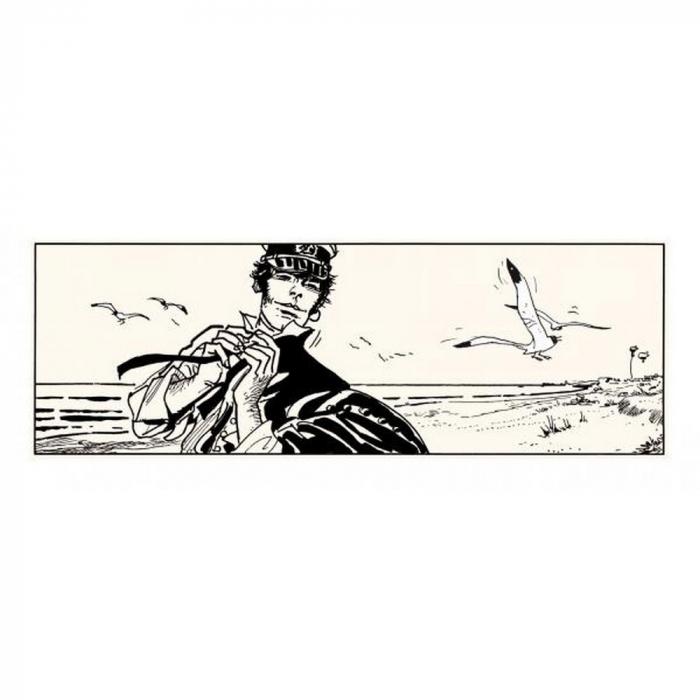 Silkscreen printing Corto Maltese, Corto on the beach (100x40cm)
