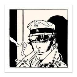 Sérigraphie Corto Maltese, Portrait de Corto en train de fumer (70x70cm)