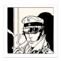 Serigrafía Corto Maltés, Retrato de Corto fumando (70x70cm)