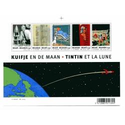 Board of 5 Stamps Belgian Post Moulinsart Tintin Moon (2004)
