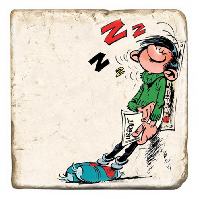 Collectible marble sign Gaston Lagaffe in the elevator (10x10cm)
