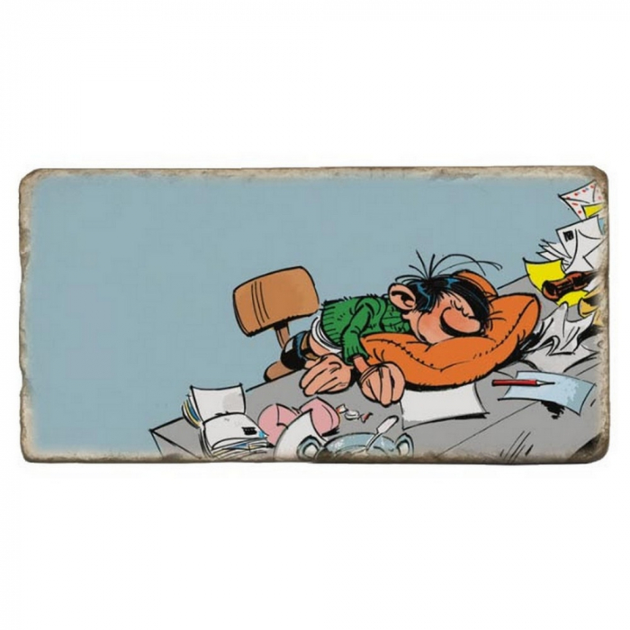 Collectible marble sign Gaston Lagaffe sleeping at work (20x10cm)