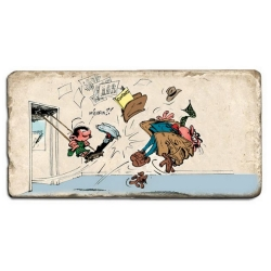 Collectible marble sign Gaston Lagaffe with De Mesmaeker (20x10cm)