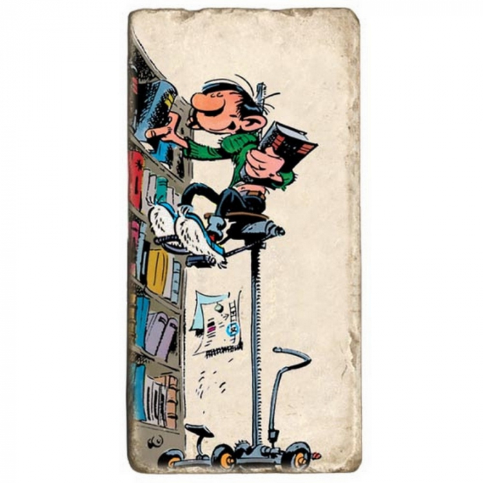Collectible marble sign Gaston Lagaffe at the top of his library (10x20cm)