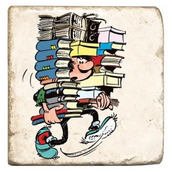 Collectible marble sign Gaston Lagaffe with a stack of books (10x10cm)