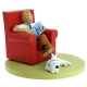Figura de colección Moulinsart Tintín en su sillón con Milú 46404 (2018)