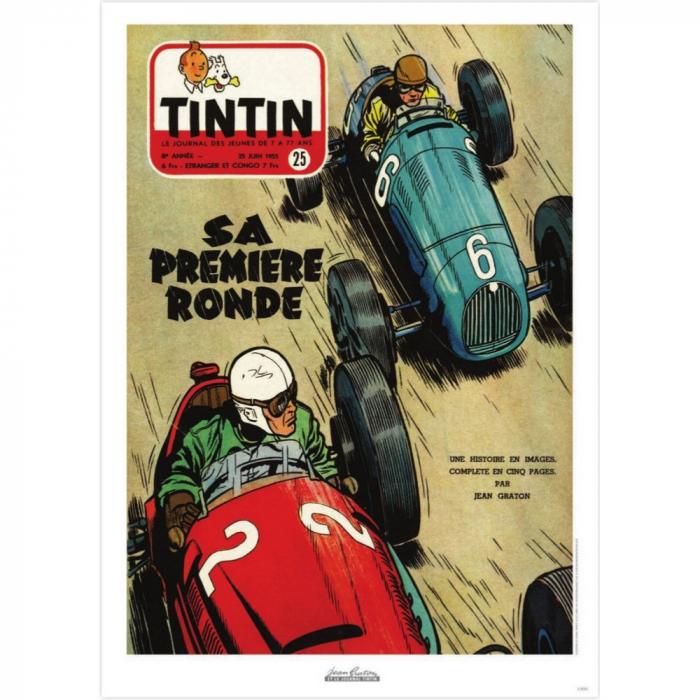 Póster de portada Jean Graton en El Journal de Tintin 1953 Nº25 (50x70cm)