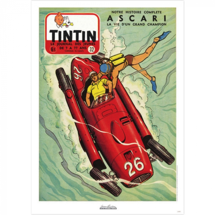 Jean Graton Cover Poster from The Journal of Tintin 1955 Nº32 (50x70cm)