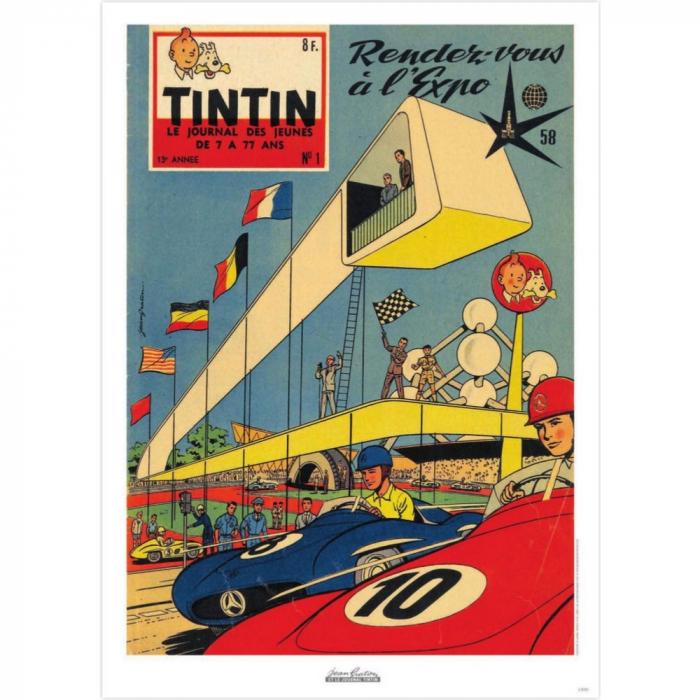 Póster de portada Jean Graton en El Journal de Tintin 1958 Nº01 (50x70cm)