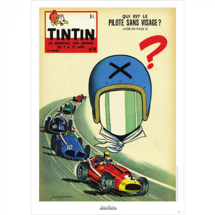 Jean Graton Cover Poster from The Journal of Tintin 1959 Nº19 (50x70cm)