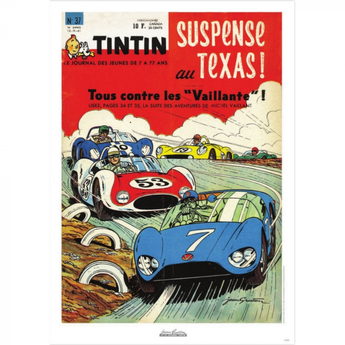 Póster de portada Jean Graton en El Journal de Tintin 1961 Nº37 (50x70cm)