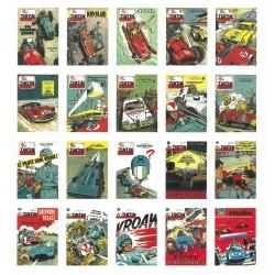 Set de 20 Cartes postales de couverture Jean Graton Journal de Tintin (15x10cm)
