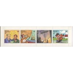 4 Timbres B Post Blake et Mortimer, Corentin, Les Cités Obscures et Boule & Bill