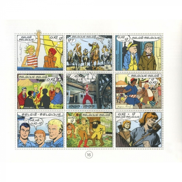 Board of 9 Stamps B Post CBBD Franco-Belgian comics (1999)