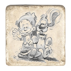 Collectible marble sign Billy & Buddy Walking (10x10cm)