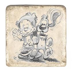 Placa de Mármol de colección Bill & Bolita Paseando (10x10cm)