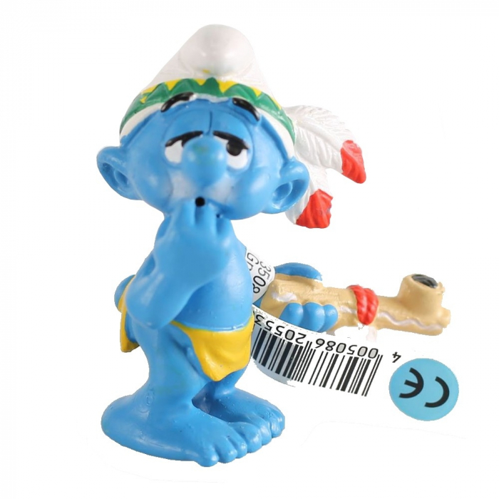 The Smurfs Schleich® Figure - The Smurf Indian with Peace Pipe (20553)