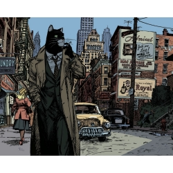 Póster cartel offset Blacksad Juanjo Guarnido, Nueva York firmado (40x50cm)