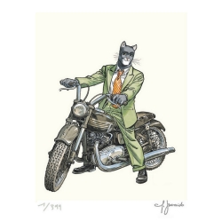 Poster affiche offset Blacksad Juanjo Guarnido, Moto Triumph signée (40x50cm)