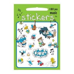 Planche de 180 stickers autocollants Les Schtroumpfs (Musique)