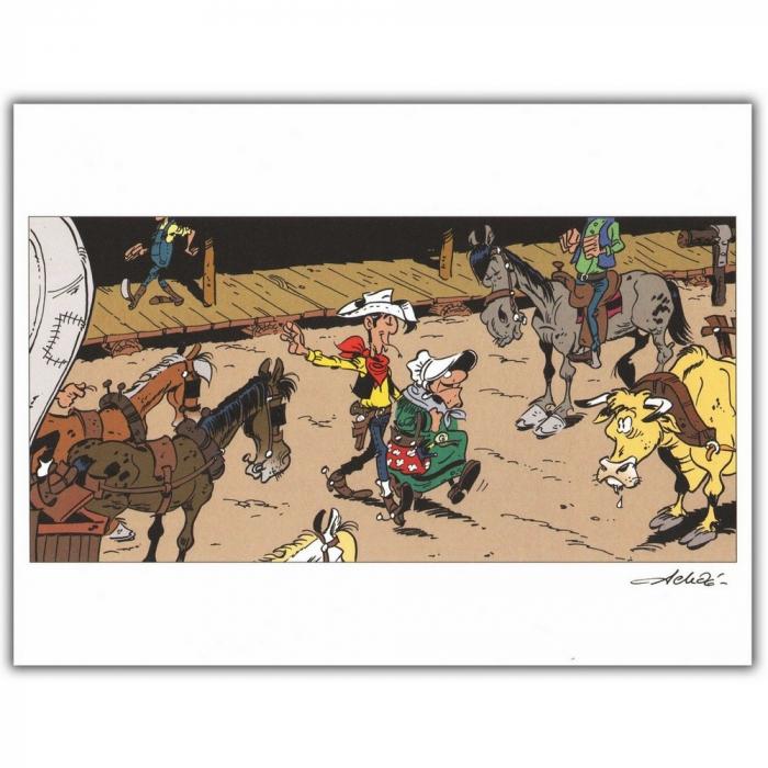 Ex-libris Offset of Lucky Luke: Lucky Luke and Ma Dalton (30x23cm)