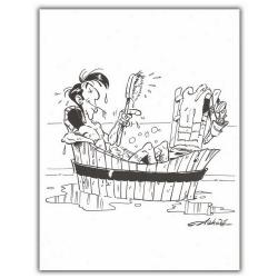 Ex-libris Offset de Lucky Luke: Le bain (23x30cm)
