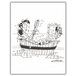 Ex-libris Offset of Lucky Luke: The bath (23x30cm)