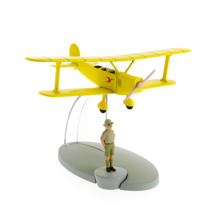 Figurine de collection Tintin L'avion biplan jaune Tintin au Congo 29526 (2014)