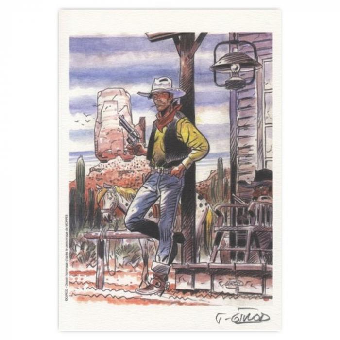 Ex-libris Offset de Lucky Luke: Girod, homenaje a Lucky Luke (21x14,5cm)