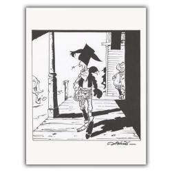 Ex-libris Offset de Lucky Luke: Lucky Luke marchant (23x30cm)