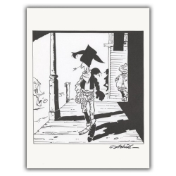 Ex-libris Offset of Lucky Luke: Lucky Luke walking (23x30cm)