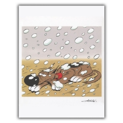 Ex-libris Offset of Lucky Luke: Rantanplan under the snow (30x23cm)