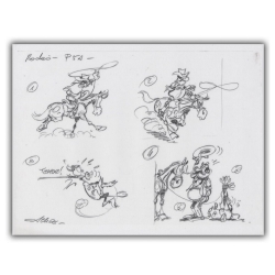 Ex-libris Offset de Lucky Luke: Calco Rodéo (30x23cm)