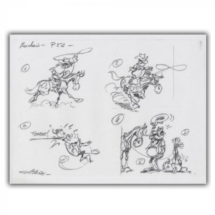 Ex-libris Offset of Lucky Luke: Tracing Rodéo (30x23cm)