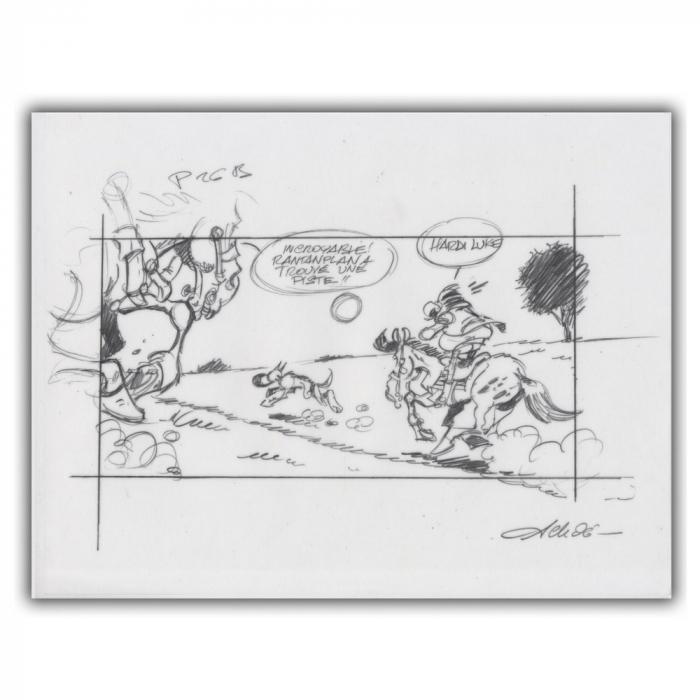 Ex-libris Offset of Lucky Luke: Tracing Rantanplan (30x23cm)