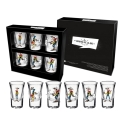 Set of 6 shot glasses (Lucky Luke shooting up)