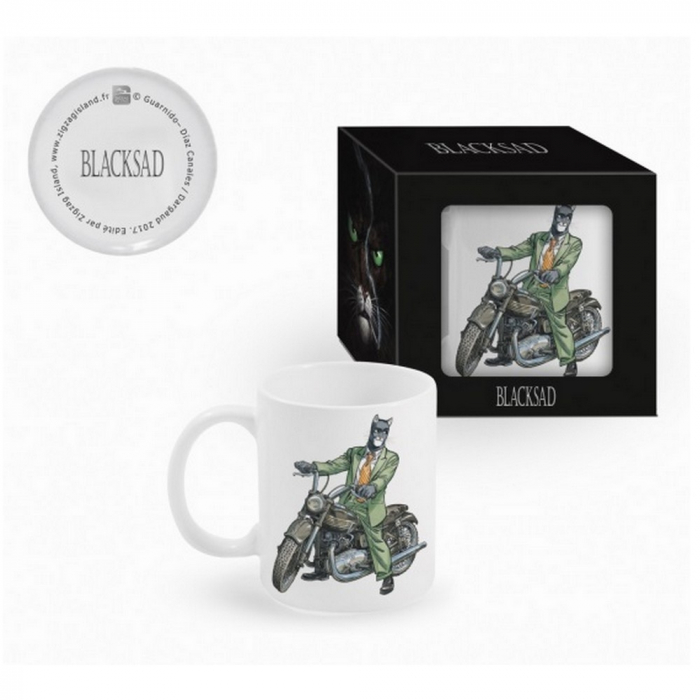 Ceramic mug Blacksad (John on Triumph motorcycle)