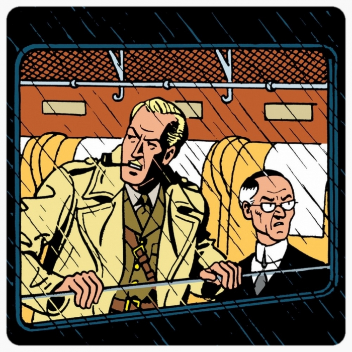 Blake and Mortimer Coaster 10x10cm (Francis Percy Blake in the train)