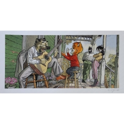 Póster cartel offset Blacksad Juanjo Guarnido, familia de John firmado (50x25cm)