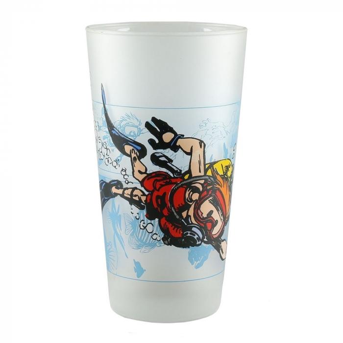 Collectible Spirou and Fantasio Glass (Spirou diving)