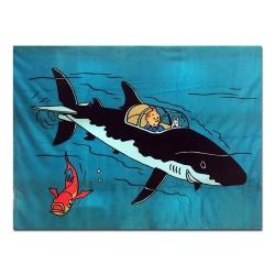 Manta Polar Azul Tintín el Tiburón Submarino 100% Poliéster (130x160cm)