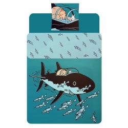 Duvet Cover and Pillowcase Tintin The Submarine Shark 100% Cotton (140x200cm)