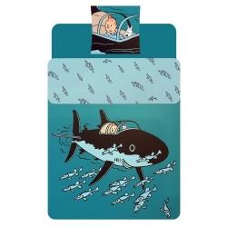 Housse de couette et taie d'oreiller Tintin Le Sous Marin Requin (140x200cm)