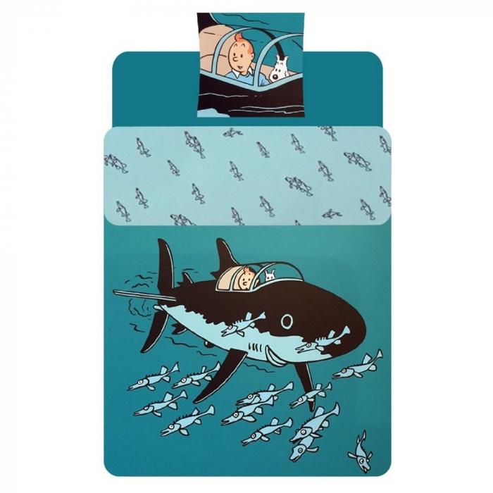 Funda Nórdica y de Almohada Tintín El Tiburón Submarino 100% Algodón (140x200cm)