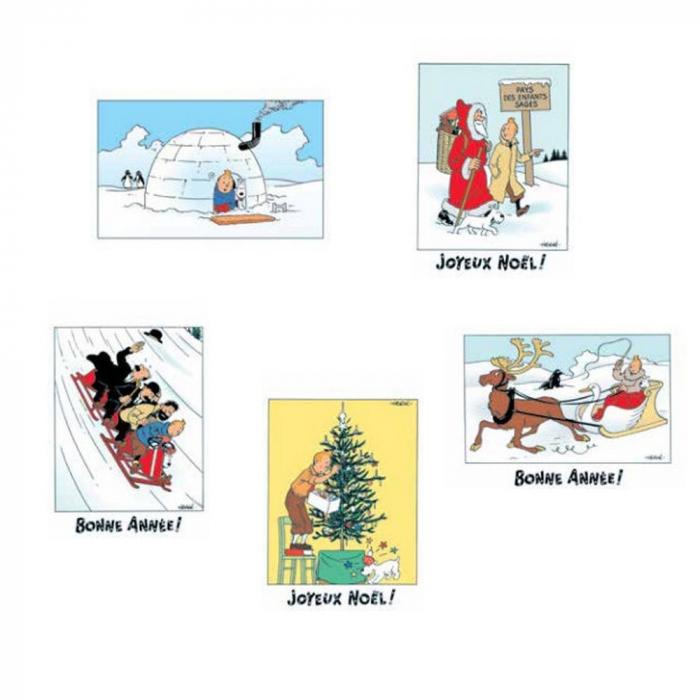 Set of 10 Christmas and New Year Tintin Postcards 31306 (10x15cm)