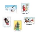 Set of 5 Christmas and New Year Tintin Postcards 31308 (10x15cm)